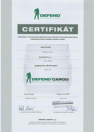 Certifikát Defend Cargo
