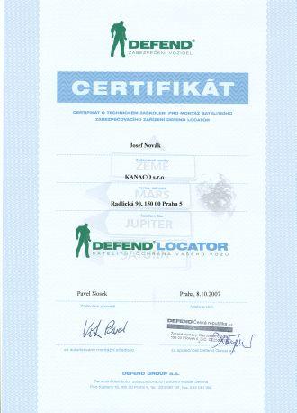Certifikát Defend Lokátor