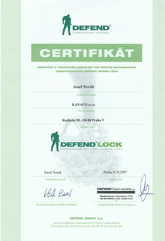 Certifikát Defend Lock