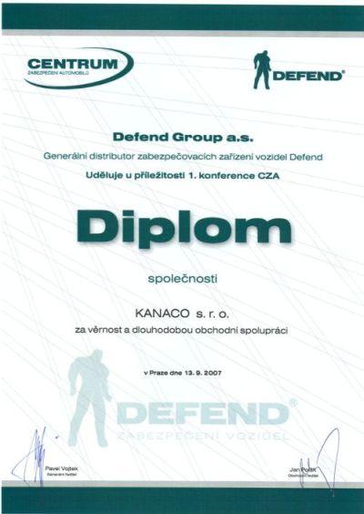 Certifikát věrnosti Defend